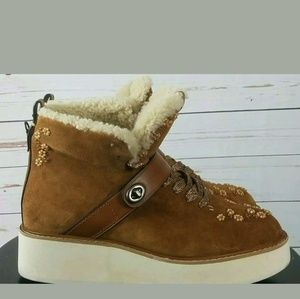 Coach Shoes - Coach 9.5 Saddle Natural Urban Hiker Wedge Boots